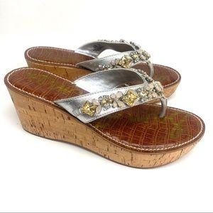 Sam Edelman Leather Randi Wedge Sandals Jewels 7.5